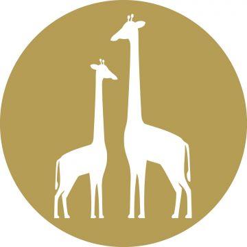 papier peint panoramique rond adhésif girafes jaune ocre et blanc de ESTA home
