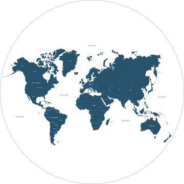 papier peint panoramique rond adhésif carte du monde bleu de ESTA home