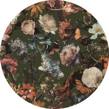 papier peint panoramique rond adhésif fleurs vert olive grisé de ESTA home