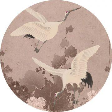 papier peint panoramique rond adhésif oiseaux de grue gris rose de ESTA home