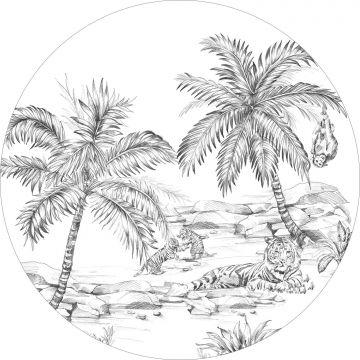papier peint panoramique rond adhésif safari noir et blanc de ESTA home