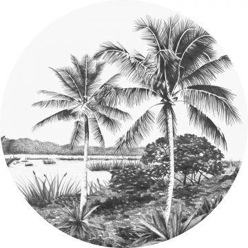 papier peint panoramique rond adhésif paysage tropical avec des palmiers noir et blanc de ESTA home