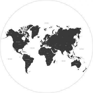papier peint panoramique rond adhésif carte du monde noir et blanc de ESTA home