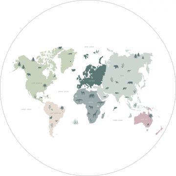 papier peint panoramique rond adhésif carte du monde pour enfants vert menthe, gris et rose de ESTA home