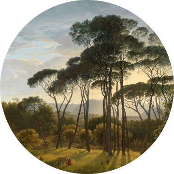 papier peint panoramique rond adhésif paysage italien vert foncé de ESTA home