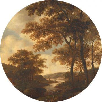 papier peint panoramique rond adhésif paysage boisé orange de ESTA home