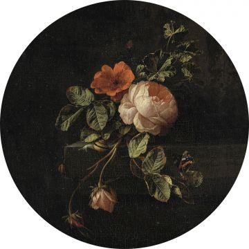 papier peint panoramique rond adhésif nature morte de fleurs noir et vert de ESTA home
