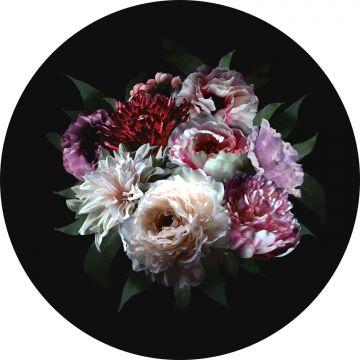 papier peint panoramique rond adhésif nature morte de fleurs multicolore sur noir de ESTA home