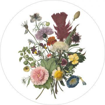 papier peint panoramique rond adhésif bouquet vert, rose et jaune de ESTA home