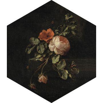 sticker mural nature morte de fleurs noir, vert et rose de ESTA home