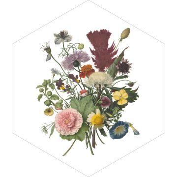sticker mural bouquet vert, rose et jaune de ESTA home