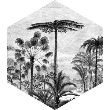 sticker mural paysage tropical avec des palmiers noir et blanc de ESTA home