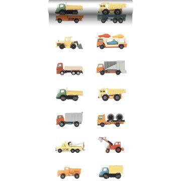 papier peint intissé XXL camions et tracteurs jaune, orange et bleu de ESTA home