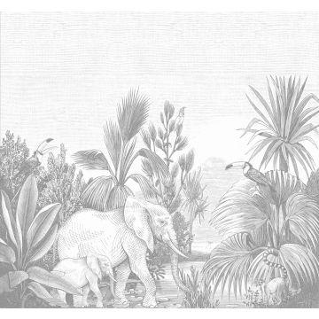 papier peint panoramique jungle gris de ESTA home