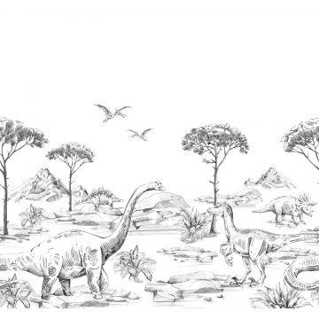 papier peint panoramique dinosaures noir et blanc de ESTA home