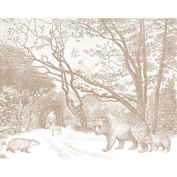 papier peint panoramique forêt avec des animaux de la forêt terracotta de ESTA home