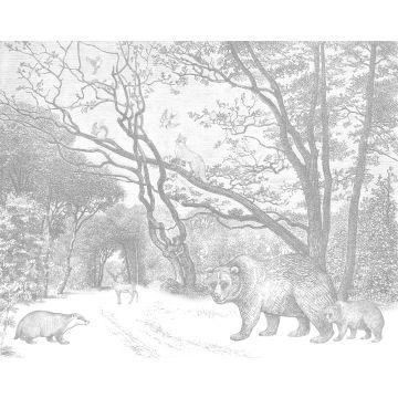 papier peint panoramique forêt avec des animaux de la forêt gris de ESTA home