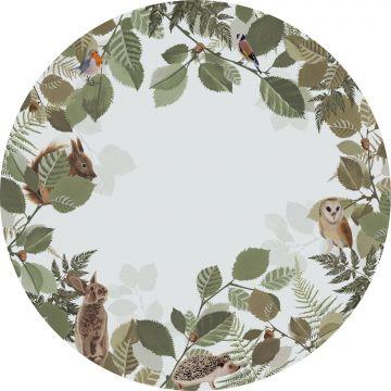 papier peint panoramique rond adhésif animaux de la forêt vert et marron de ESTA home