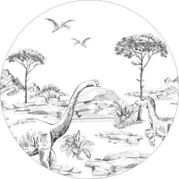 papier peint panoramique rond adhésif dinosaures noir et blanc de ESTA home