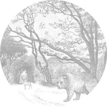 papier peint panoramique rond adhésif forêt avec des animaux de la forêt gris de ESTA home