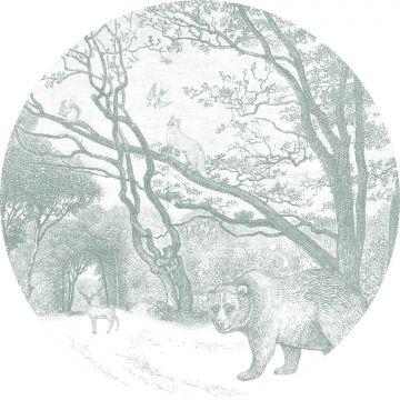 papier peint panoramique rond adhésif forêt avec des animaux de la forêt vert de ESTA home