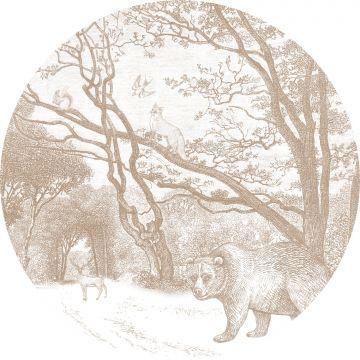 papier peint panoramique rond adhésif forêt avec des animaux de la forêt cervine de ESTA home