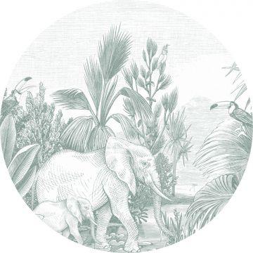 papier peint panoramique rond adhésif jungle vert de ESTA home