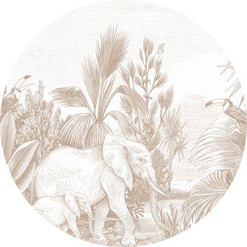 papier peint panoramique rond adhésif jungle cervine de ESTA home