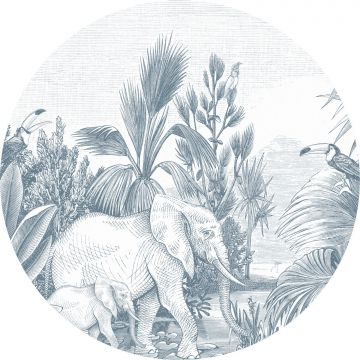 papier peint panoramique rond adhésif jungle bleu de ESTA home