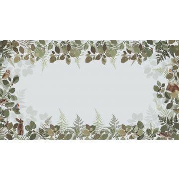 papier peint panoramique animaux de la forêt vert et marron de ESTA home