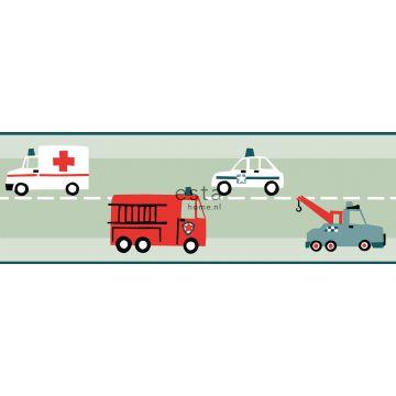 frise de papier peint adhésive voitures, camions de pompiers, hélicoptères et grues vert menthe de ESTA home