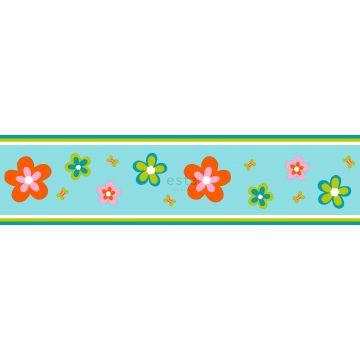 frise papier peint fleurs turquoise et orange de ESTA home