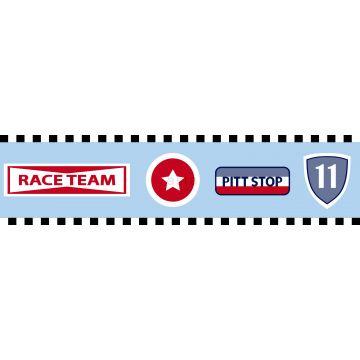 frise papier peint emblèmes d'équipe de course bleu céleste de ESTA home