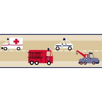 frise papier peint camions de pompiers et voitures de police beige, rouge et bleu de ESTA home