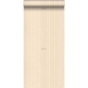 papier peint rayures fines beige champagne de Origin