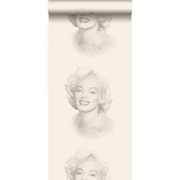 papier peint Marilyn Monroe blanc et gris de Origin
