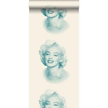 papier peint Marilyn Monroe blanc et turquoise de Origin