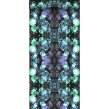 papier peint kaléidoscope bleu azur lumière et violet de Origin