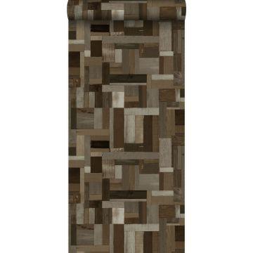 papier peint imitation bois brun foncé de Origin