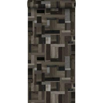 papier peint imitation bois noir et gris de Origin