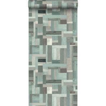papier peint imitation bois vert grisé de Origin