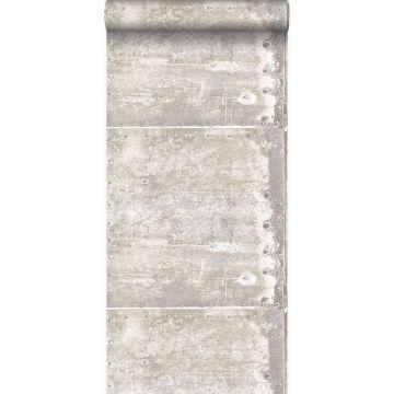 papier peint grandes plaques métalliques rouillées, vieillies, altérées et touchées par les intempéries avec des rivets blanc cassé de Origin