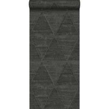 papier peint triangles métalliques vieillis, altérés et touchés noir de Origin
