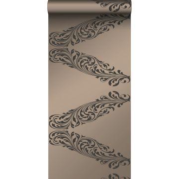 papier peint ornement bronze brillant et marron de Origin