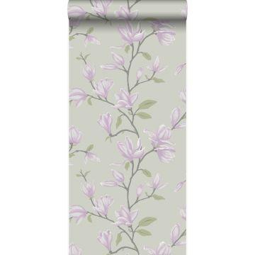 papier peint magnolia bleu canard et violet de Origin