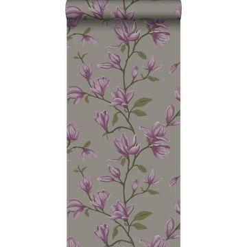 papier peint magnolia taupe et violet aubergine de Origin