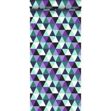 papier peint triangles violet et bleu azur lumière de Origin
