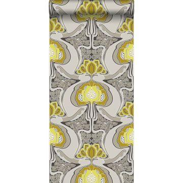 papier peint motif floral Art Nouveau jaune ocre et gris de Origin