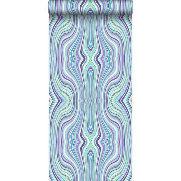 papier peint lignes graphiques turquoise et violet de Origin