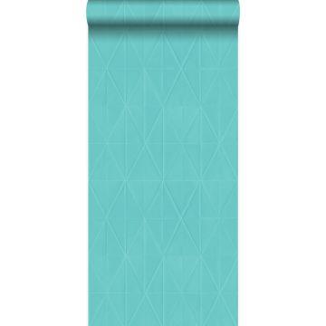 papier peint forme graphique turquoise de Origin
